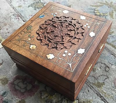Beautiful Antique Hand Carved Stained Hardwood Box With Intricate Brass Inlay