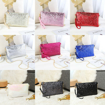 Ladies Designer Sequins  Evening Bag Clutch Purse Chain Handbag Women Shoulder
