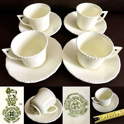4 Rare Antique Victorian Royal Doulton Demitasse Eggshell China Cups & Saucers