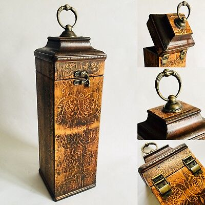 Vintage / Antique Handcrafted Wooden Wine Gift Box With Ornate Brass Fittings