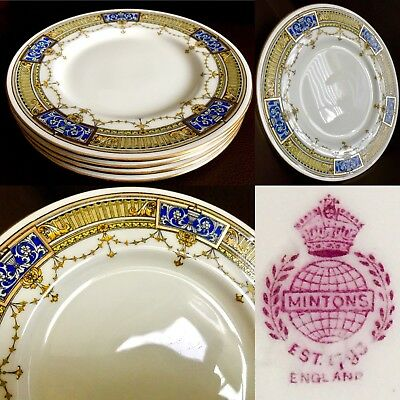 "4 Rare Antique Art Deco (1920s) English Minton H3536 Bone China 8""/20cm Plates"
