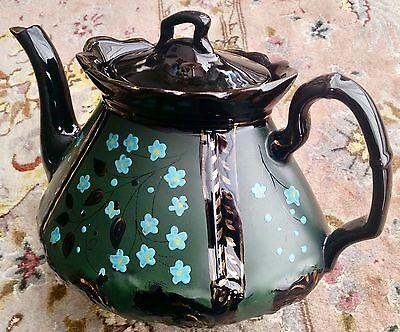 Rare Antique Handcrafted English Victorian Glazed Pottery Teapot (Circa 1850s)
