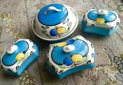 Set of Four Superb Antique English Victorian Hand Painted Pottery Trinkets
