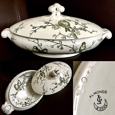 "Rare Antique Victorian (1873) George Jones & Sons ""Almonds"" Porcelain Tureen"
