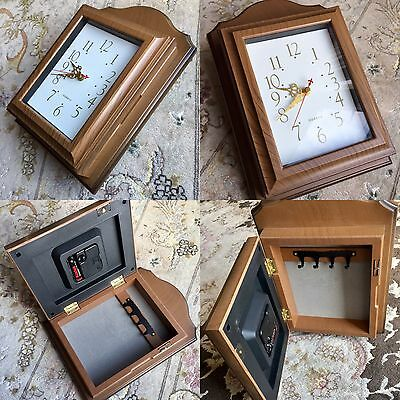 Lovely Wood Look Quartz Wall Clock With Built In Key Holder In Perfect Condition