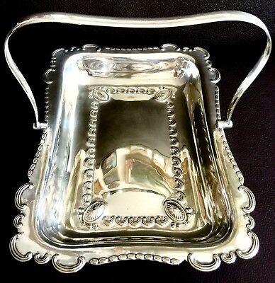 """Rare Antique Ornate English Silver Plated 11""""/28cm Serving Dish & Folding Handle"""