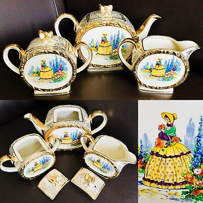 "Antique (1930s) Sadler ""Crinoline Lady"" Ironstone Teapot, Creamer & Sugar Bowl"