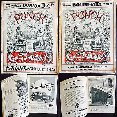 2 Rare Volumes of Antique 1937 Punch Magazine (4999 March 3rd & 5004 April 7th)