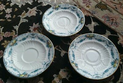 3 Superb Antique (1890) Registered Design English Wedgwood Bone China Saucers