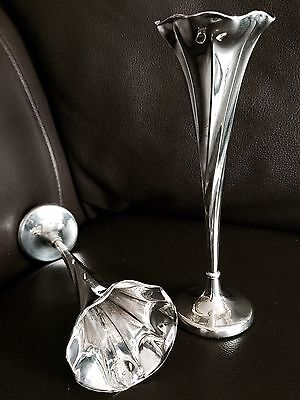 Pair of Rare Antique (1903) Hallmarked Walker & Hall Sterling Silver Bud Vases