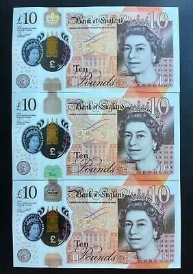 3 uncirculated consecutive £10 notes 2017 First Year Issue AA05 410575 to...577