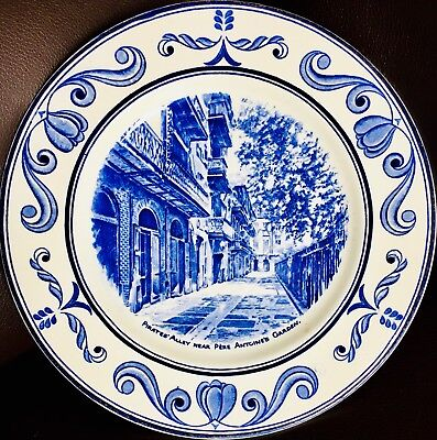 """Rare Crown Ducal """"Scenes of Old New Orleans"""" 10""""/26cm Ironstone Wall Plate"""