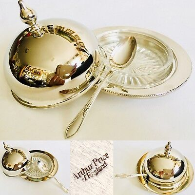 Superb Quality Vintage / Antique Arthur Price Silver Plated Caviar Dish & Spoon