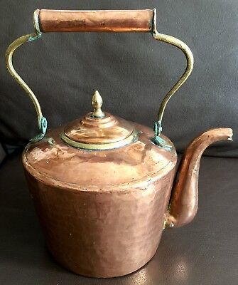 "Large Antique 10""/26cm Regency Hallmarked Copper Kettle With Brass Inserts"