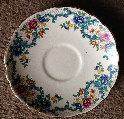 """Antique English Royal Cauldon Pottery """"Victoria"""" Saucer In Excellent Condition"""