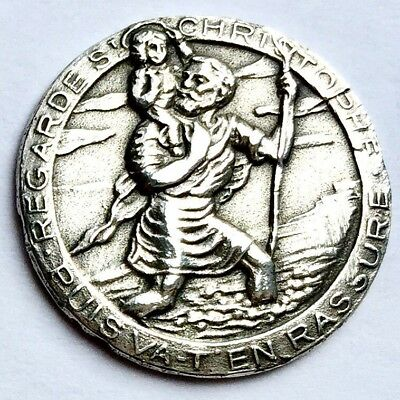 Antique French Sterling Silver St Christopher Patron Saint of Travel Medallion