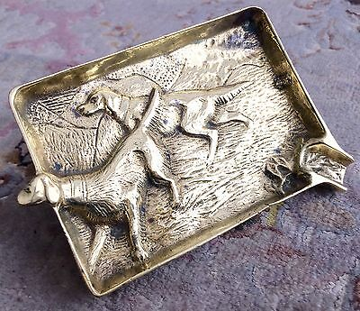 "Heavy Intricate & Antique Victorian Handmade Brass ""Hunting Dog"" Scene Ashtray"