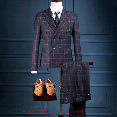 Men's Navy Blue Tweed Double Breasted Striped Suit Wedding Tuxedos Suit Custom