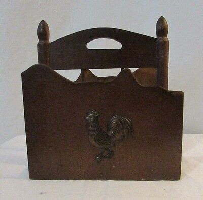 Vintage Tilso  Wood Napkin Holder with copper rooster country  Made in Japan