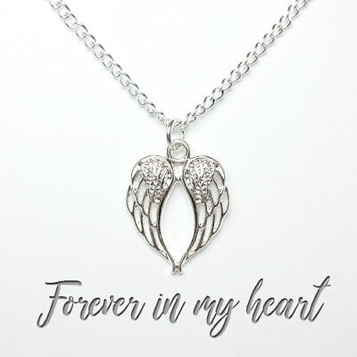925 Silver plated angel wing heart necklace fashion memory love