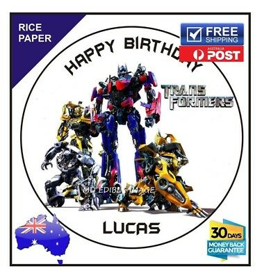 Transformers Edible Rice paper Image Cake Birthday Party Topper custom 19cm