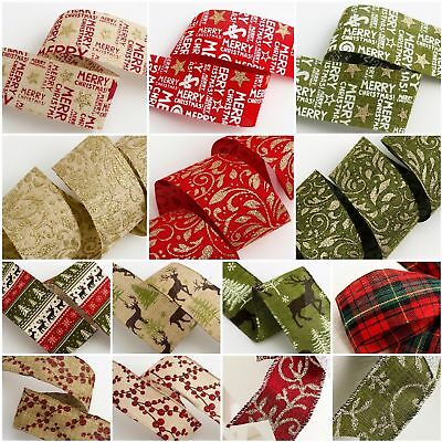*New In* Christmas Hessian Burlap Printed Ribbon Gifts, Wreath, Tree Decoration