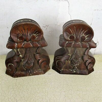 Pair Antique Hand Carved Wood Reclaimed Corbels Architectural Staircase Finial