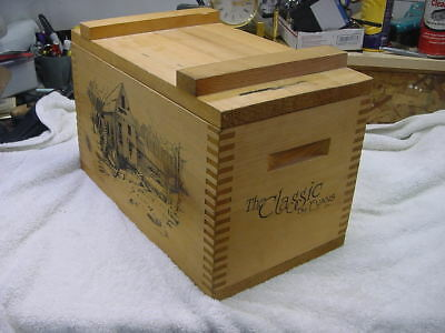 1994 The Classic By Evans Dovetail Wood Ammo Box Rustic Old Watermill Scene