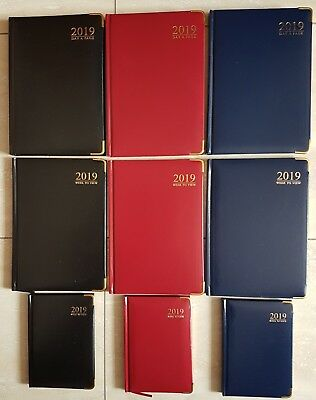 A5 / A6 2019 Diary ~ Week To View / Day To Page All Tallon Padded Gilt Edge