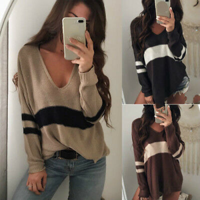 US Stylish Casual Loose Long Sleeve Lasies Sweater V-Neck Pullover Knitwear Tops