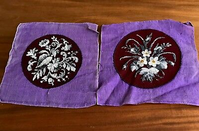 Vintage Hand Embroidered Wool Tapestry & Glass Bead Circular Panel X 2 Unused