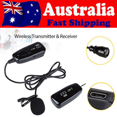 2.4G Wireless Microphone Lapel MIC Receiver&Transmitter For Voice Amplifier AU