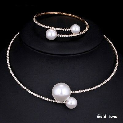Crystal Diamante Rhinestone Pearl Choker Necklace Bracelet Set Party 225G