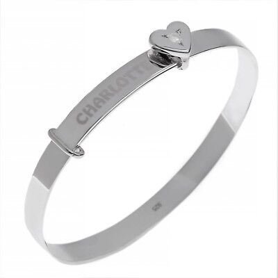 Personalised Solid Silver Baby Bangle Christening Gift BIRTHSTONE CZ Bracelet