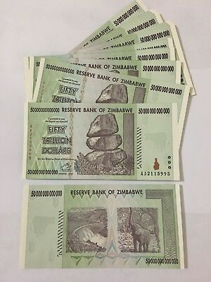(10)Zimbabwe 50 Trillion Dollars 2008 AA series. Uncirculated. Authentic. No s/h