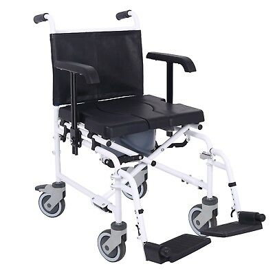 Mobile wheeled shower commode chair wheelchair with brakes and pot Ex Display