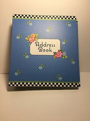 mary engelbreit address book flowers blue small 3 ring binder