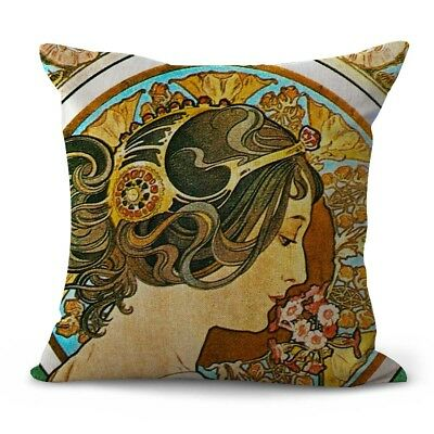 US SELLER- art nouveau Alphonse Mucha primorse lady patio chair cushion covers