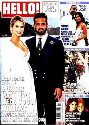 HELLO MAGAZINE #1547 ~ 27th AUGUST 2018 ~ SPENCER MATTHEWS & VOGUE WILLIAMS WED
