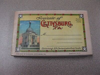 Souvenir of Gettysburg PA Civil War 23 OF  25 Postcard Booklet Pub C A Blocher