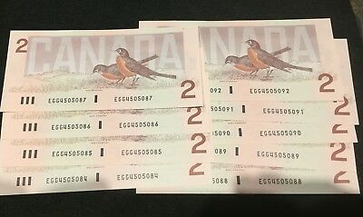 (9) 1986 Bank of Canada Two Dollar - UNC Thiessen Crow Sequential Serial Number