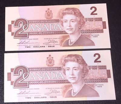 (2) 1986 Bank of Canada Two Dollar - UNC -Thiessen Crow Sequential Serial Number