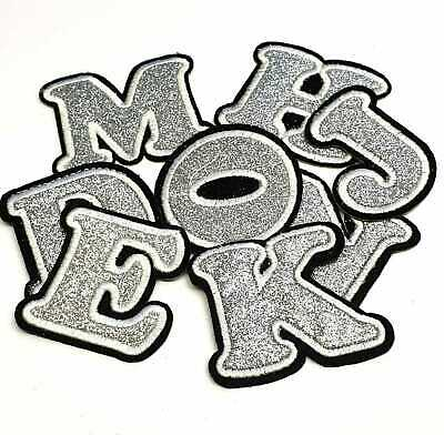 Silver Glitter Letter Patch Patches Iron on / Sew on Alphabet Embroidery Clothes