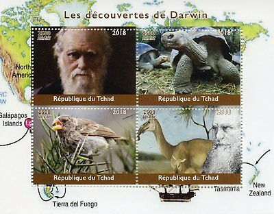 Chad 2018 CTO Charles Darwin 4v M/S Wild Animals Turtles Finches Birds Stamps