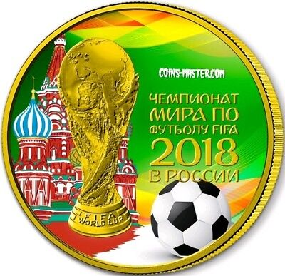 2018 1 Oz Silver 3 Rubbles Russia WORLD CUP KREMLIN Coin WITH 24K GOLD GILDED.
