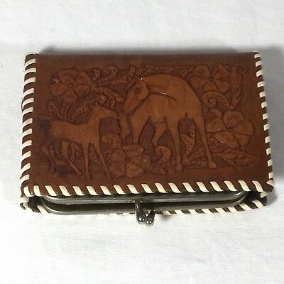 Vintage Leather Wallet Embossed Horses Coin Change Western free shipping