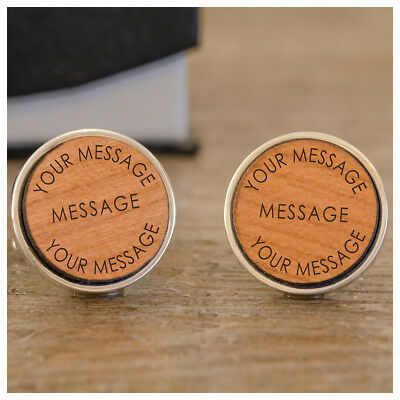 Personalised Engraved Wooden Message Round Cufflinks Wedding New Baby Fathers