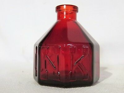 Vintage mini Antique Red Glass Octagon Ink Well/Bottle w/ Raised Letter Wheaton