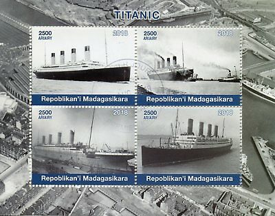 Madagascar 2018 CTO Titanic 4v M/S Boats Ships Nautical Stamps