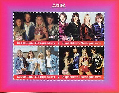 Madagascar 2018 MNH ABBA 4v M/S Music Popstars Celebrities Stamps